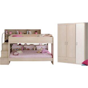 Kinderzimmer Bibop Parisot Bett + Lattenrostplatten + Kleiderschrank + Regale + Podest-Leiter beige - Bild 1