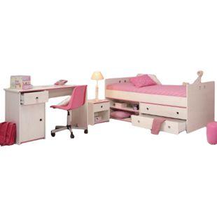 Kinderzimmer Smoozy Parisot 3-tlg Bett + Nachtkommode + Schreibtisch weiß - Bild 1