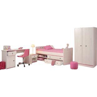 Kinderzimmer Smoozy Parisot 4-tlg Bett + Nachtkommode + Schreibtisch + Kleiderschrank weiß - Bild 1