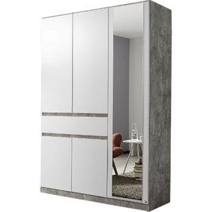 Drehtürenschrank Jonas 5-trg weiß stone grey B 136 cm - H 197 cm - T 54 cm - Bild 1