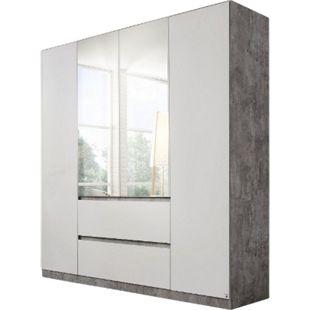 Drehtürenschrank Amelie weiß - grau 4 Türen B 181 cm - Bild 1