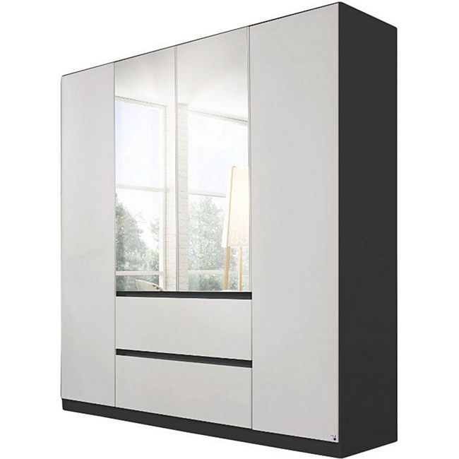 Drehtürenschrank Amelie weiß - grau-metallic 4 Türen B 181 cm - Bild 1