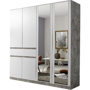 Drehtürenschrank Jonas 2 weiß stone grey 6 Türen B 181 cm - Bild 1