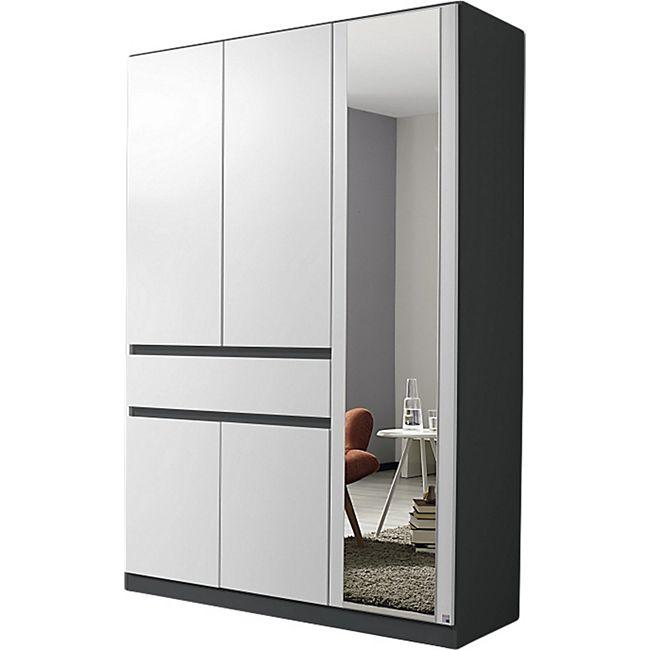 Drehtürenschrank Jonas 1 weiß grau-metallic 5 Türen B 136 cm - Bild 1