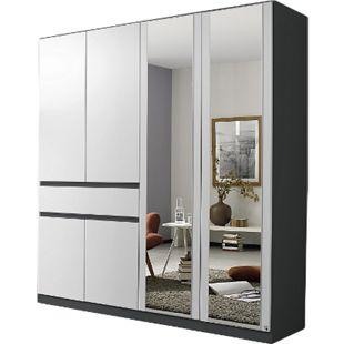 Drehtürenschrank Jonas 2 weiß grau-metallic 6 Türen B 181 cm - Bild 1