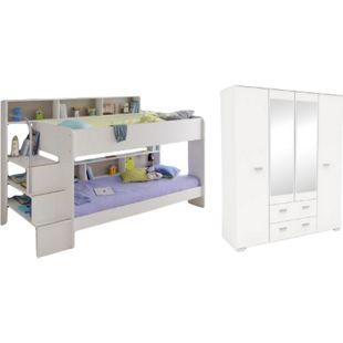 Kinderzimmer Bibop Parisot Bett + Lattenrostplatten + Spiegel-Kleiderschrank + Regale + Podestleiter - Bild 1