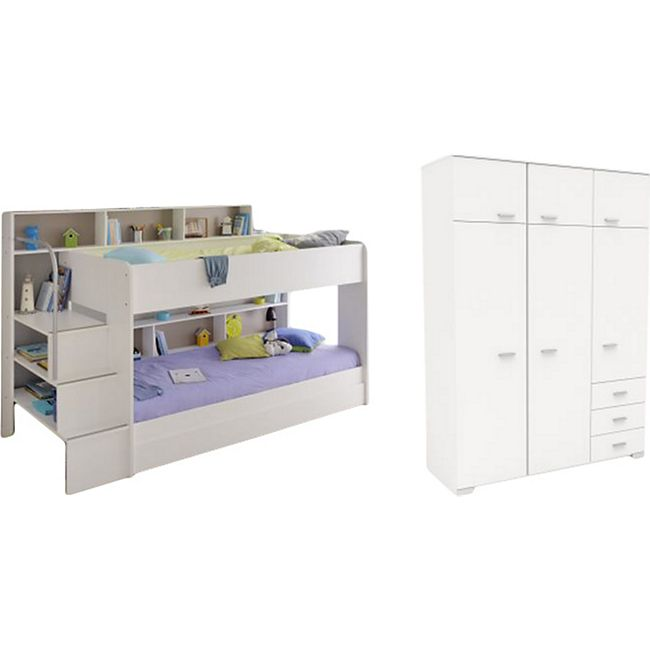 Kinderzimmer Bibop Parisot Bett + Kleiderschrank + Regale + Podest-Leiter + Bettschubkasten weiß - Bild 1