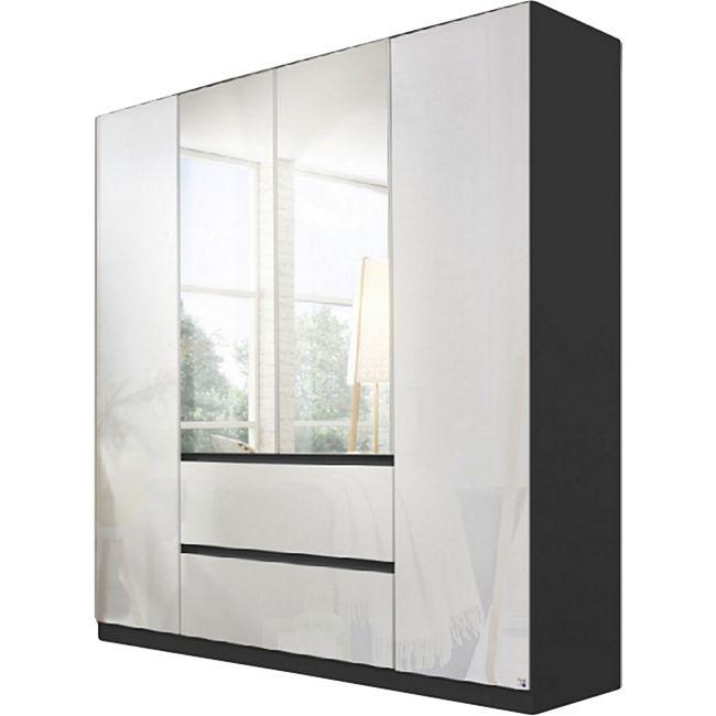 Drehtürenschrank Amelie Hochglanz weiß grau-metallic 4 Türen B 181 cm - Bild 1