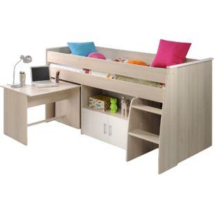 Hochbett Adone Parisot inkl. Schreibtisch + Kommode + Ablagefach + Lattenrostplatte beige - weiß - Bild 1