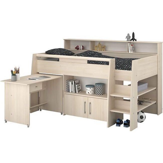 Hochbett Adone inkl. Lattenrostplatte + Schreibtisch + Kommode + Ablagefach + Bücherregale grau - Bild 1