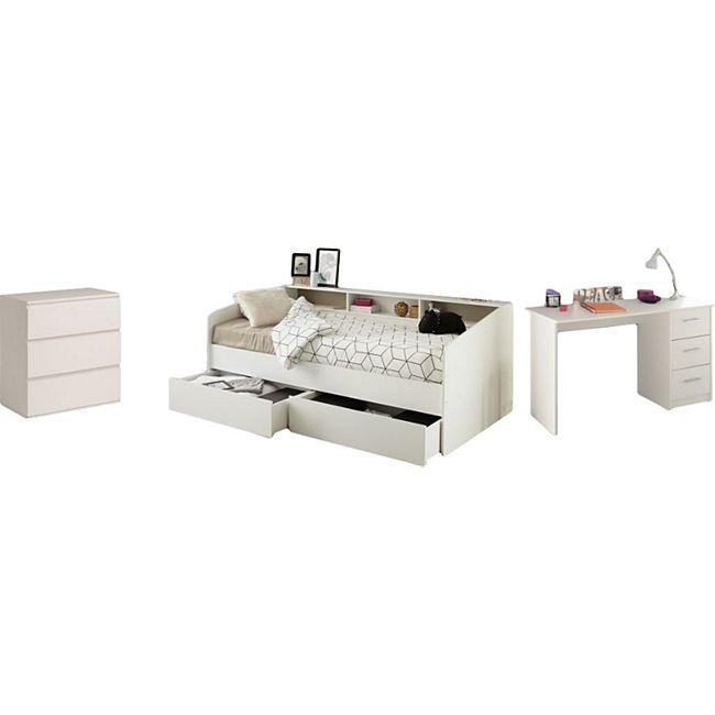 Kinderzimmer Sleep Parisot inkl. Bett + 2 x Bettschubkästen + Schreibtisch + Kommode weiß - Bild 1