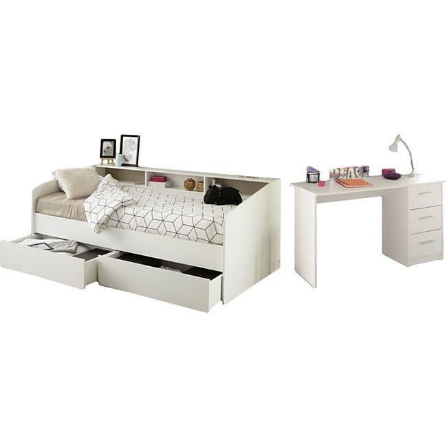 Kinderzimmer Sleep Parisot Weiß inkl. Bett, 2 Bettschubkästen, Schreibtisch - Bild 1