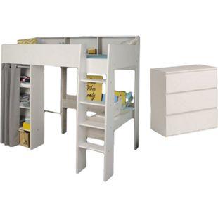 Hochbett Taylor Parisot weiß / grau inklusive Schreibtisch, Kommode mit 3 Schubladen EN 747-1 - Bild 1