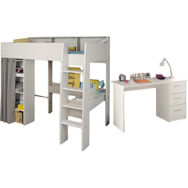 Hochbett Taylor Parisot weiß - grau inklusive Lattenrostplatte + Schreibtisch + vieler Regalfächer - Bild 1