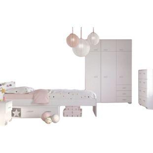 Kinderzimmer Galaxy 4-tlg inkl. Bett + Kleiderschrank + Nachtkommode + Kommode weiß - Bild 1