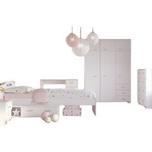 Kinderzimmer Galaxy Parisot 5-tlg Bett + Kleiderschrank + Nachtkommode + Schreibtisch + Kommode weiß - Bild 1