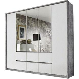Kleiderschrank Ella weiß - grau 5 Türen B 230 cm - Bild 1