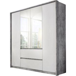 Kleiderschrank Ella weiß - grau 4 Türen B 185 cm - Bild 1