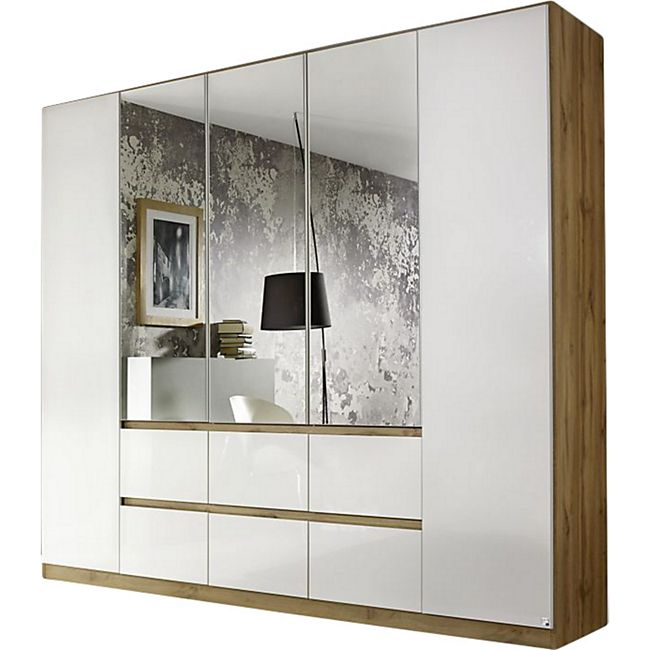 Kleiderschrank Ella weiß - braun 5 Türen B 226 cm - Bild 1