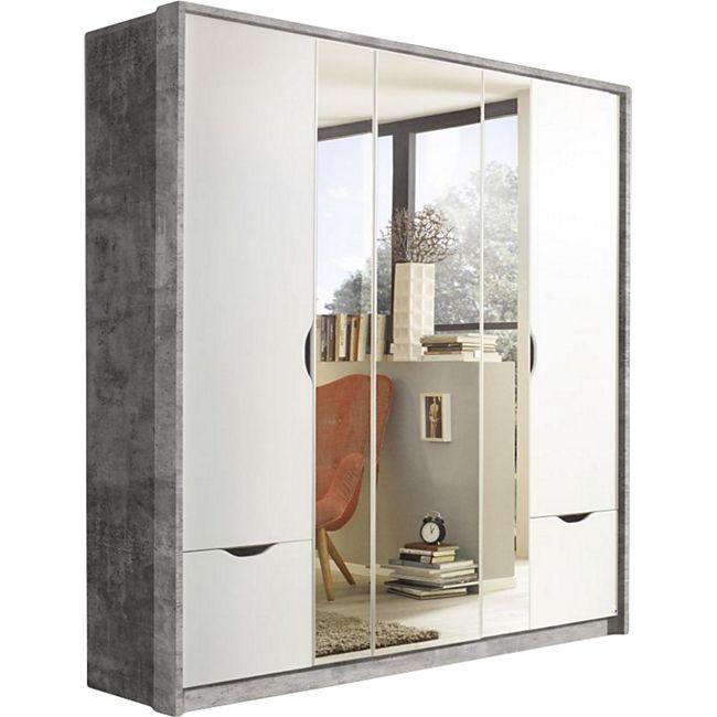 Drehtürenschrank Laura grau / weiß stone-grey 5 Türen B 185 cm - Bild 1
