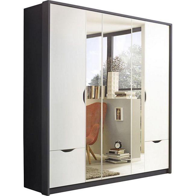 Drehtürenschrank Laura 1 grau / weiß 5 Türen B 185 cm - Bild 1