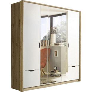 Drehtürenschrank Laura braun - weiß 5 Türen B 185 cm H 199 cm T 56 cm - Bild 1