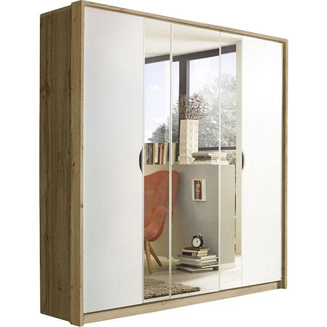 Drehtürenschrank Laura braun / weiß 5 Türen (3 mit Spiegel) B 185 cm - Bild 1