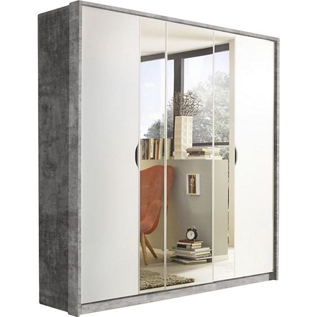 Drehtürenschrank Laura 2 grau / weiß 5 Türen B 185 cm - Bild 1