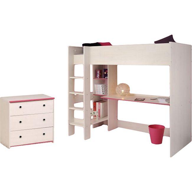 Kinderzimmer Smoozy Parisot 2-teilig weiß - pink - blau Bett + Kommode + Schreibtisch - Bild 1