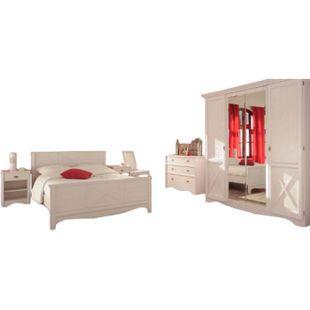 Jugendzimmer Marion Parisot 5-tlg inkl. Kommode + Bett + 2 Nachtkommoden + Kleiderschrank weiß - Bild 1