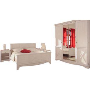 Jugendzimmer Marion Parisot 4-tlg inkl. Bett + 2 Nachtkommoden + Kleiderschrank weiß - Bild 1