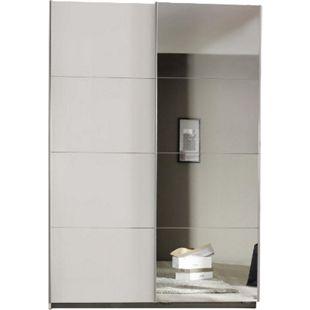 Schwebetürenschrank Hannah 2-trg mit 1 Spiegelfront weiß B 136 cm - H 197 cm - T 48 cm - Bild 1