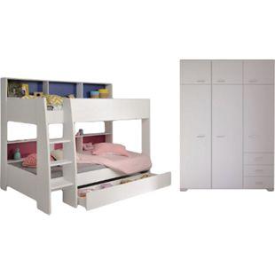 Kinderzimmer Tam Tam Parisot inklusive Kleiderschrank Regale Bettschubkasten weiß - Bild 1