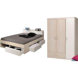 Jugendzimmer Most 2-tlg Funktionsbett 140*200 cm + 3 Bettkästen + Kopfteil-Regal + Kleiderschrank - Bild 1