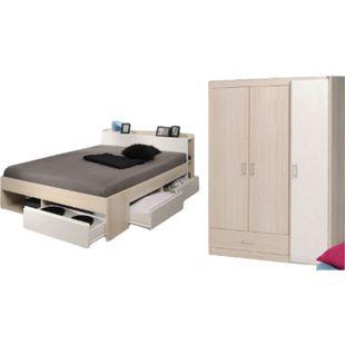 Jugendzimmer Most 2-tlg Funktionsbett 160*200 cm + 3 Bettkästen + Kopfteil-Regal + Kleiderschrank - Bild 1