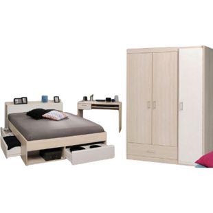 Jugendzimmer Most Parisot 3-tlg inkl. Kleiderschrank + Funktionsbett + Schreibtisch grau / weiß - Bild 1