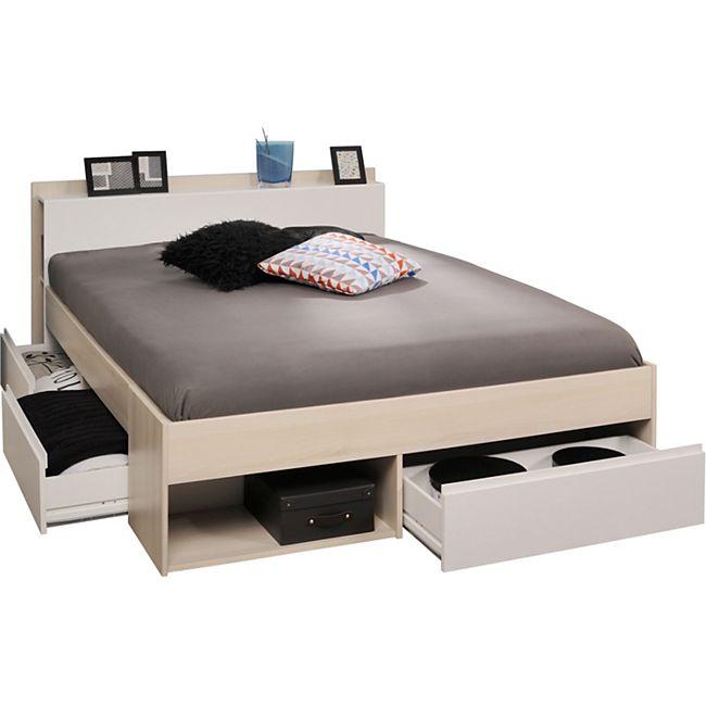 Jugendzimmer Most Parisot 3-tlg inkl. Kleiderschrank + Funktionsbett grau - weiß - Bild 1