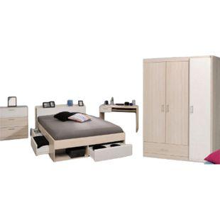 Jugendzimmer Most Parisot 4-tlg inkl. Kleiderschrank + Funktionsbett + Schreibtisch + Kommode akazie - Bild 1
