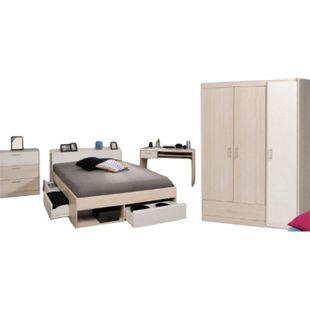 Jugendzimmer Most Parisot 4-tlg inkl. Kleiderschrank + Funktionsbett + Schreibtisch + Kommode weiß - Bild 1