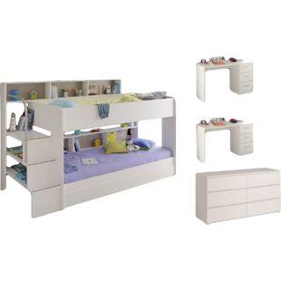 Kinderzimmer Bibop Parisot 5-tlg Bett + 2 Schreibtische + Bettkasten + Kommode + Lattenrostplatten - Bild 1