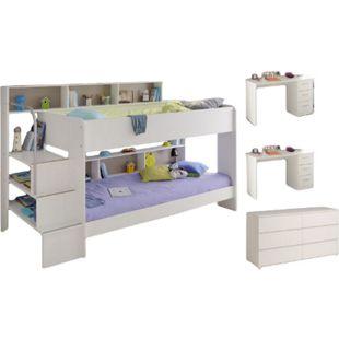 Kinderzimmer Bibop Parisot 4-tlg Bett + 2 Schreibtische + Regale + Podest-Leiter + Kommode weiß - Bild 1