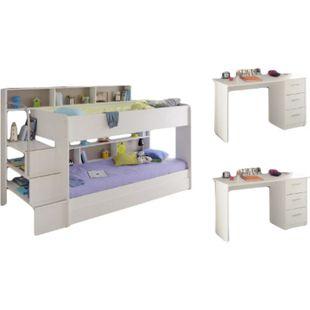 Kinderzimmer Bibop Parisot 4-tlg Bett + 2 Schreibtische + Regale + Leiter + Bettschubkasten weiß - Bild 1