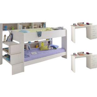 Kinderzimmer Bibop Parisot 3-teilig weiß Bett + 2 Lattenrostplatten + 2 Schreibtische + Regale - Bild 1