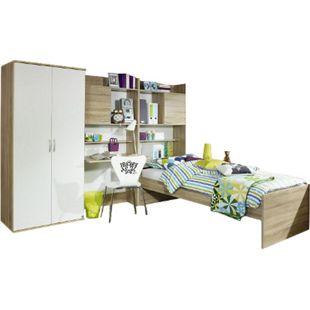 Jugendzimmer Naomi 4 4-teilig Weiß - sonoma Eiche B 275 cm - Bild 1