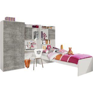 Jugendzimmer Naomi 2 4-teilig weiß - grau B 275 cm - Bild 1