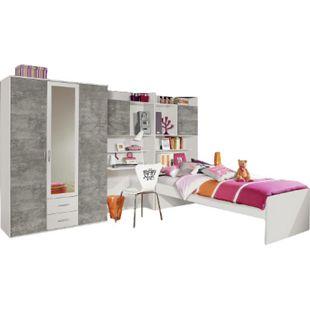 Jugendzimmer Naomi 3 4-teilig weiß - grau B 317 cm - Bild 1