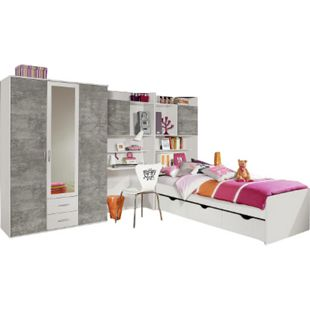 Jugendzimmer Naomi 4 4-teilig weiß - grau B 317 cm - Bild 1