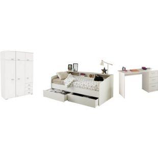 Jugendzimmer Sleep Parisot inkl. Bett + 2 Bettschubkästen + Kleiderschrank + Schreibtisch weiß - Bild 1