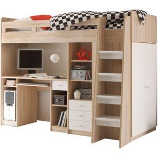 Hochbett Enri 90*200 cm inkl. Kleiderschrank Regal Schreibtisch + Lattenrostplatte sonoma Eiche-weiß - Bild 1
