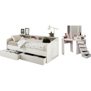 Jugendzimmer Sleep Parisot inkl. Bett + 2 Bettschubkästen + Eck - Schminktisch weiß - Bild 1